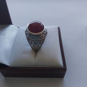 Agate Silver Ring - Vintage Style